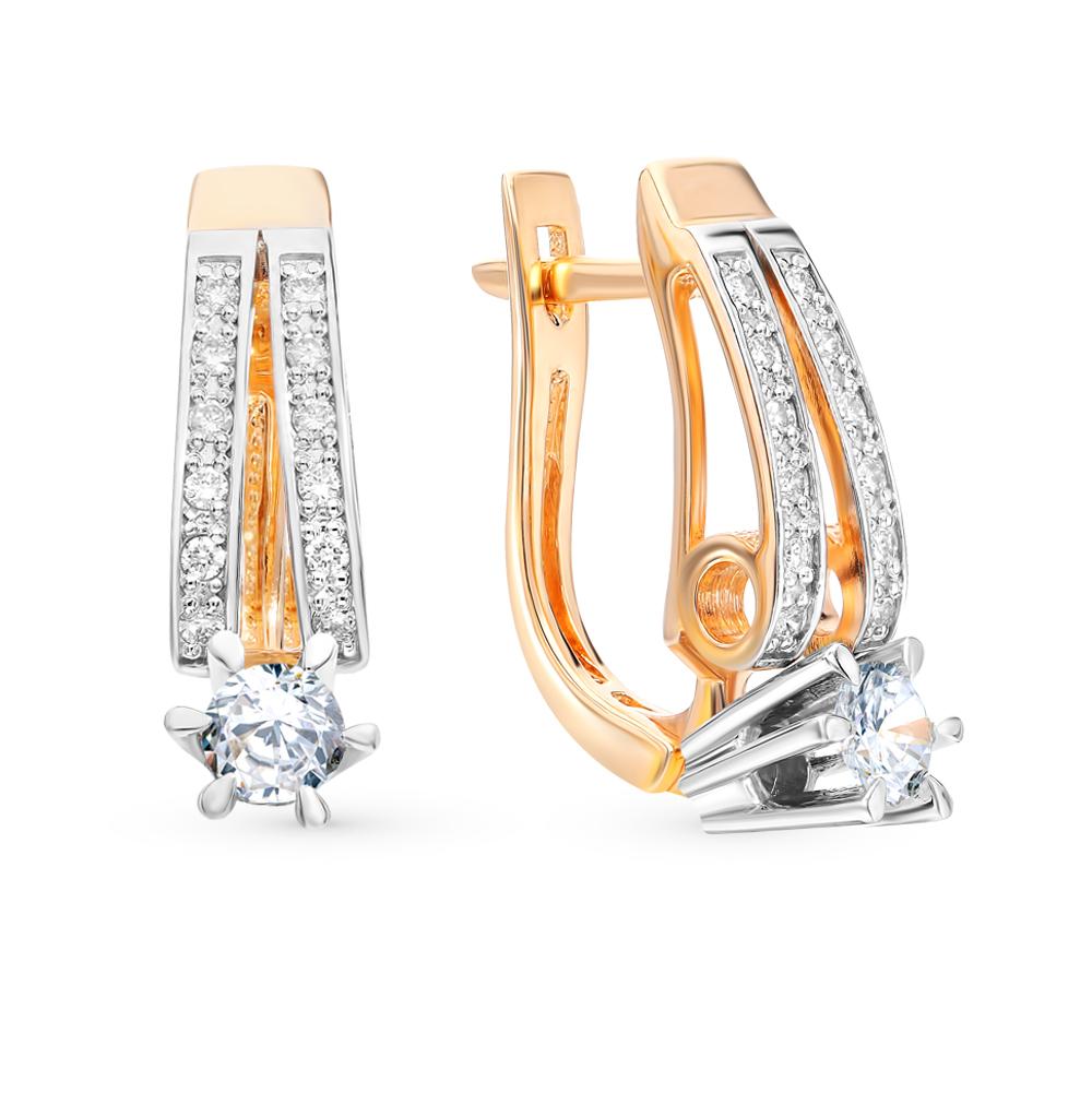 золотые серьги SUNLIGHT «Бриллианты Якутии»