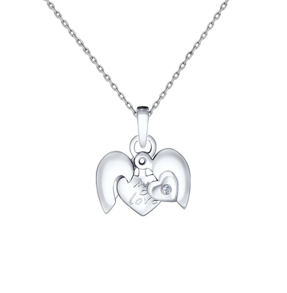 серебряная подвеска с бриллиантами SOKOLOV 87030001