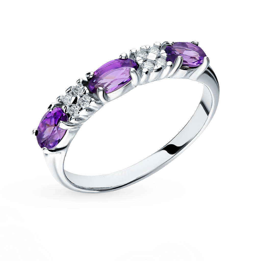 Фото «Серебряное кольцо с аметистом и фианитами SOKOLOV 92011282»