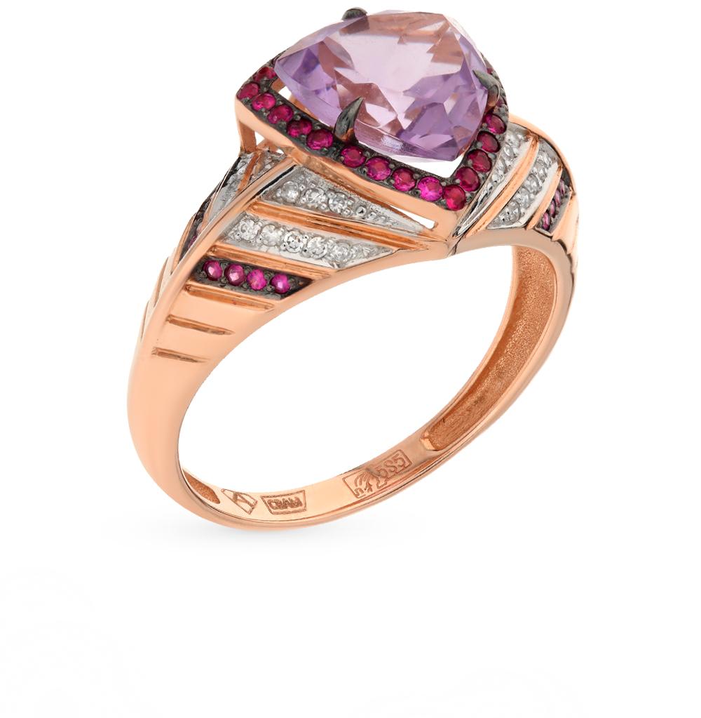 Фото «золотое кольцо с аметистом, рубинами и бриллиантами»