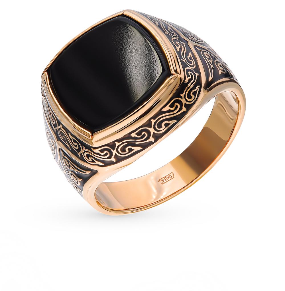 золотое кольцо с ониксом и эмалью