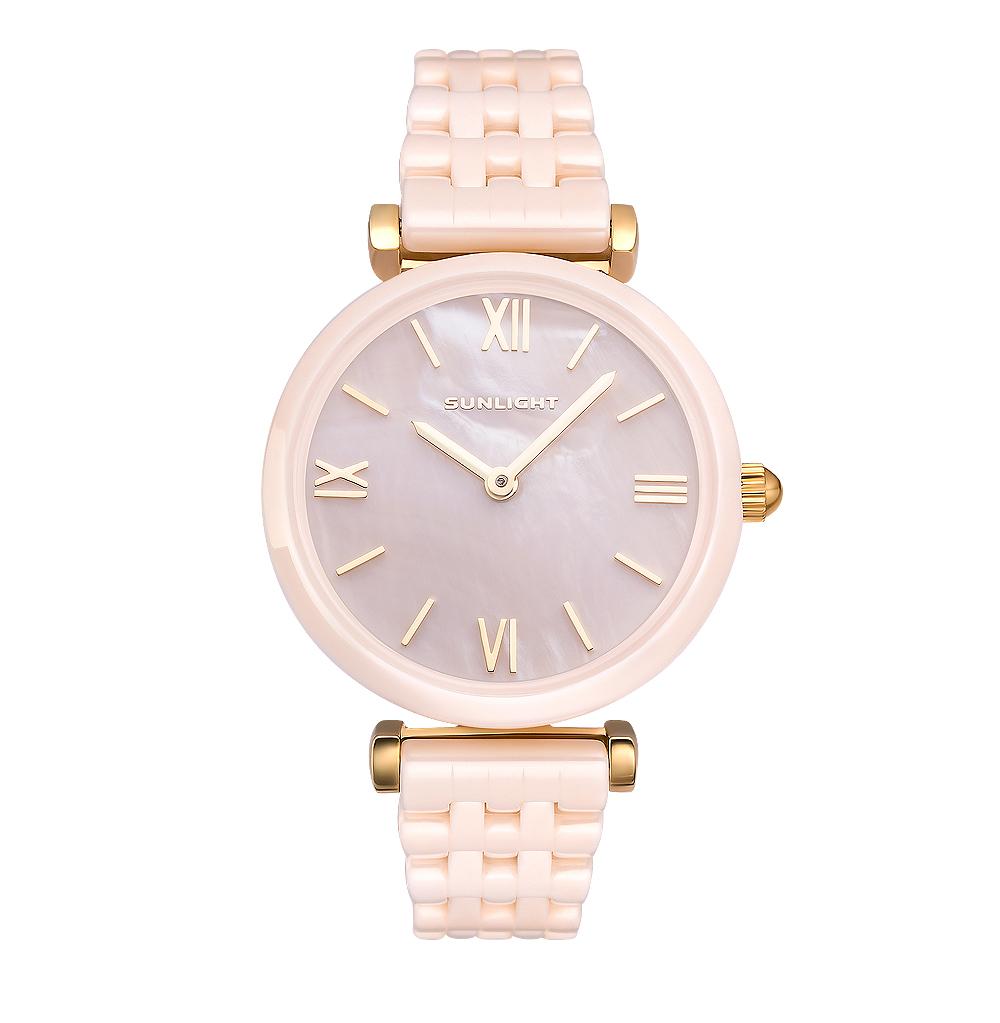 Керамические женские часы с перламутром на керамическом браслете