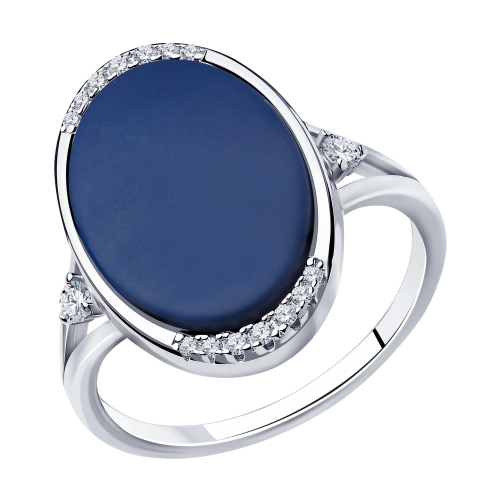 Фото «Серебряное кольцо с керамикой и фианитами SOKOLOV 94014583»