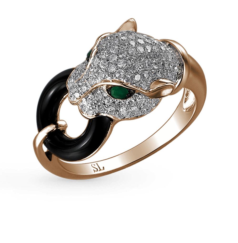Фото «золотое кольцо с изумрудами, ониксом и бриллиантами»
