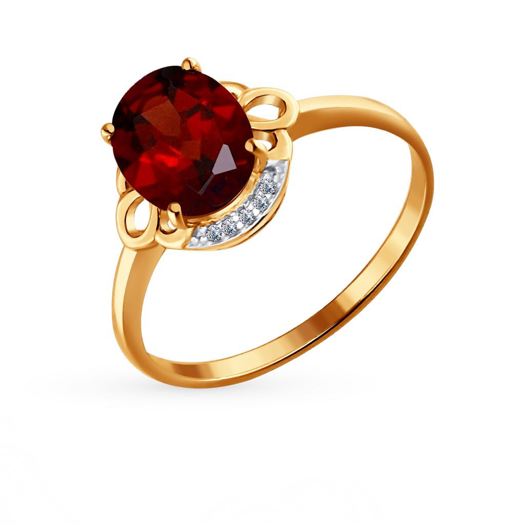 Фото «Золотое кольцо с фианитами и гранатом SOKOLOV 713957*»