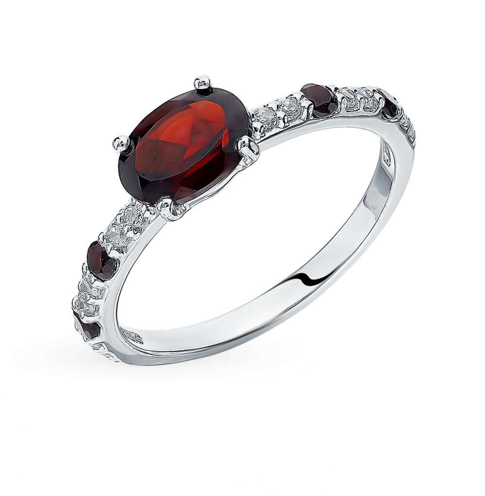 Фото «Серебряное кольцо с фианитами и гранатом SOKOLOV 92011061»