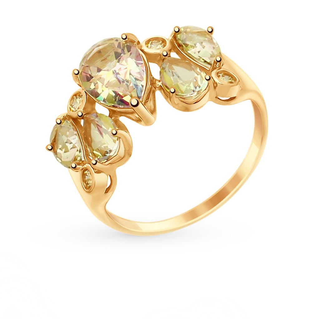 золотое кольцо с топазами и фианитами SOKOLOV 714991*