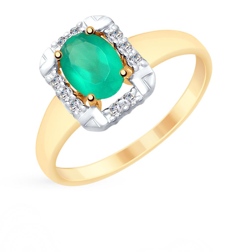 золотое кольцо с фианитами и агатом SOKOLOV 715305*