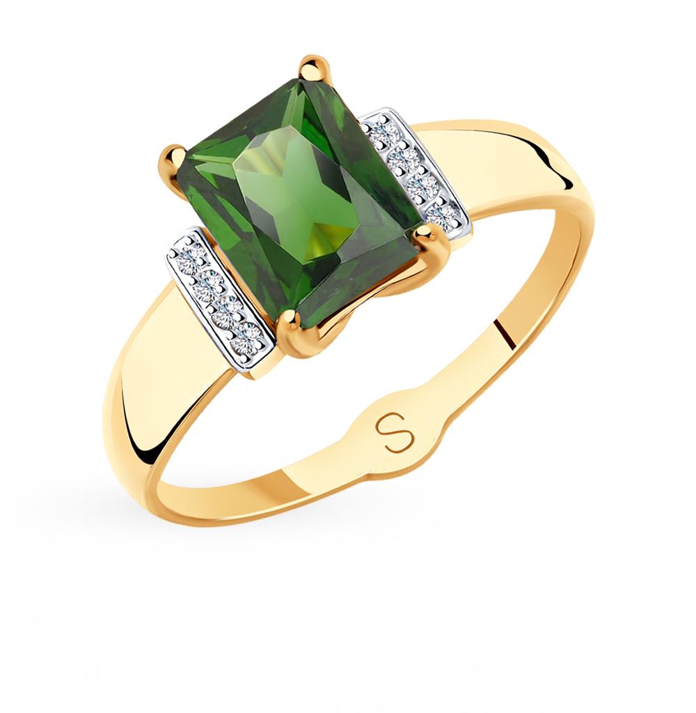 золотое кольцо с фианитами и ситаллами SOKOLOV 715417*