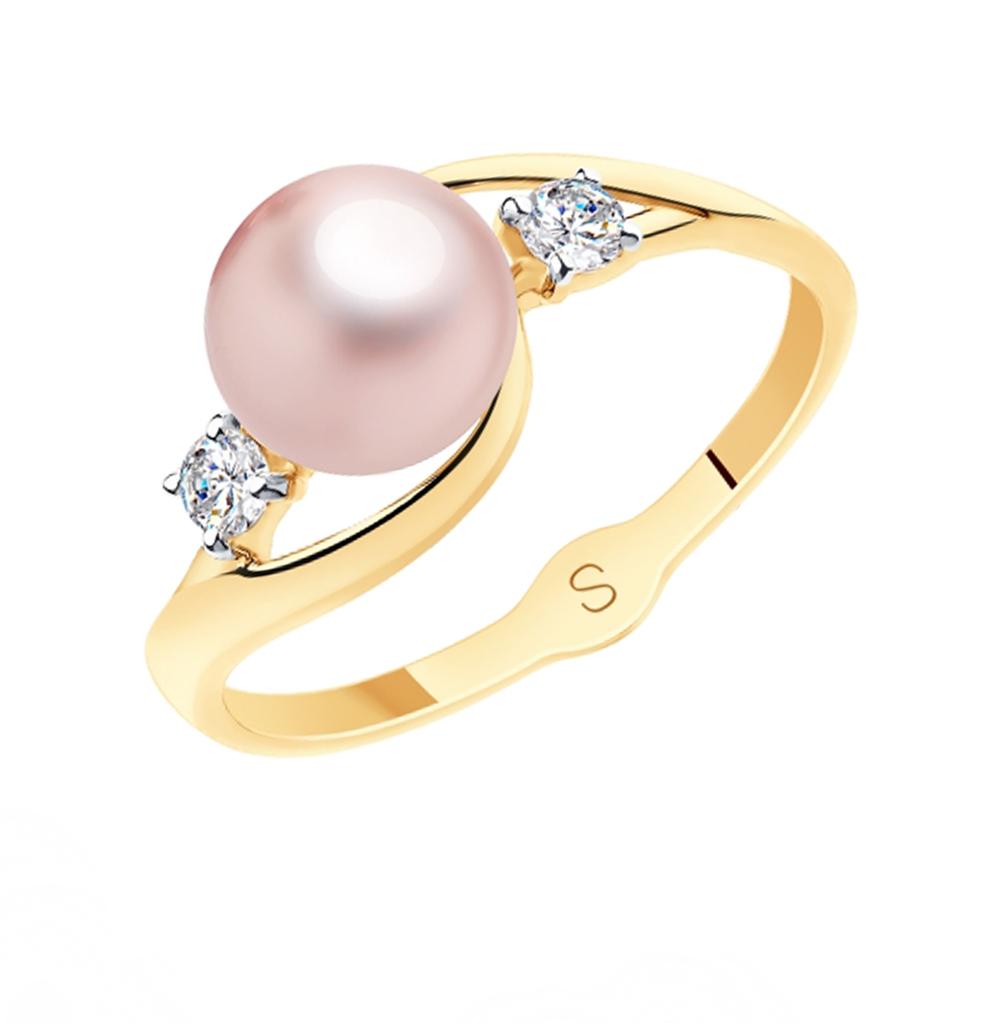 Фото «Золотое кольцо с фианитами и жемчугом SOKOLOV 791127»