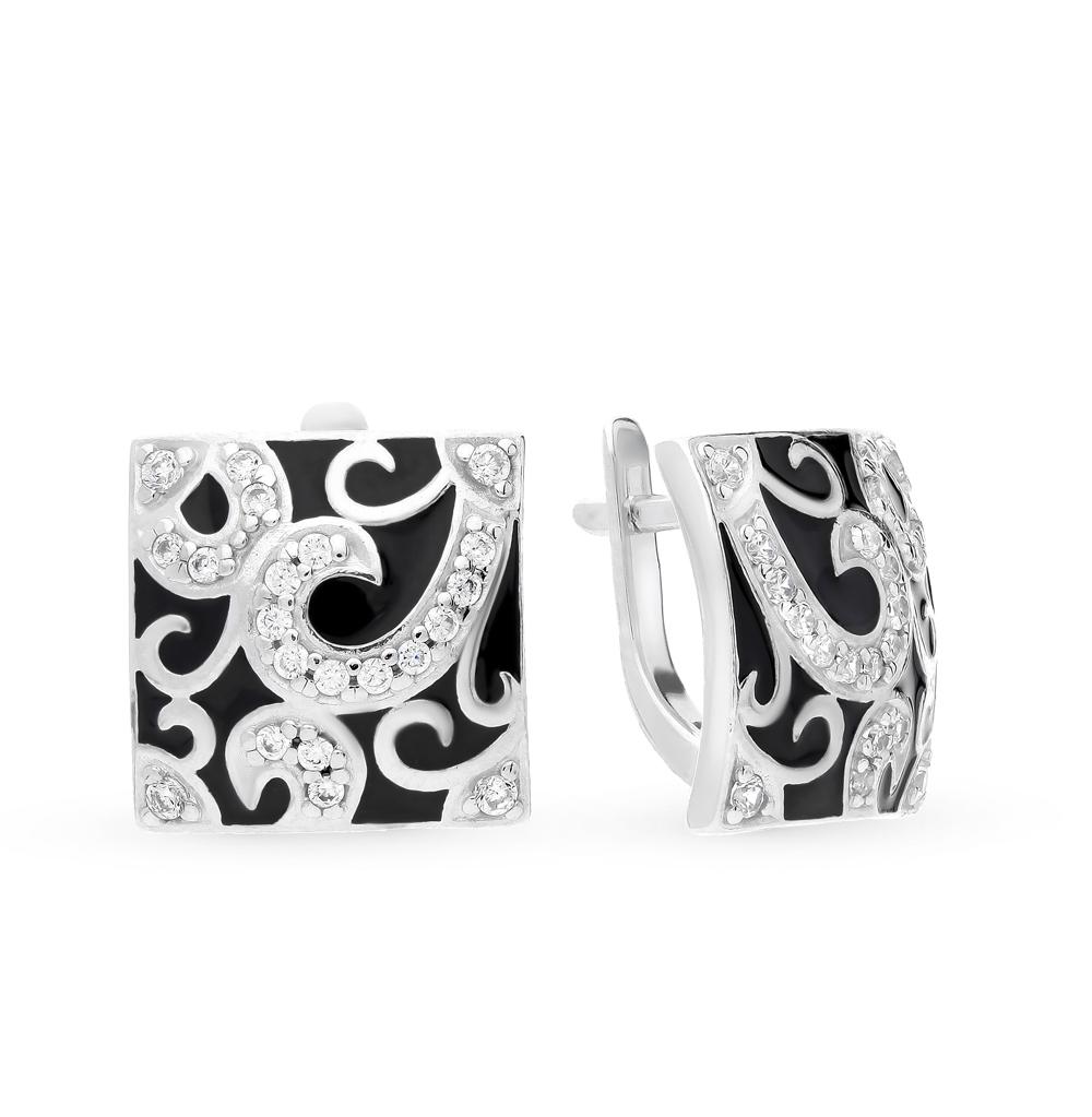 серебряные серьги с фианитами и эмалью SOKOLOV 94021058