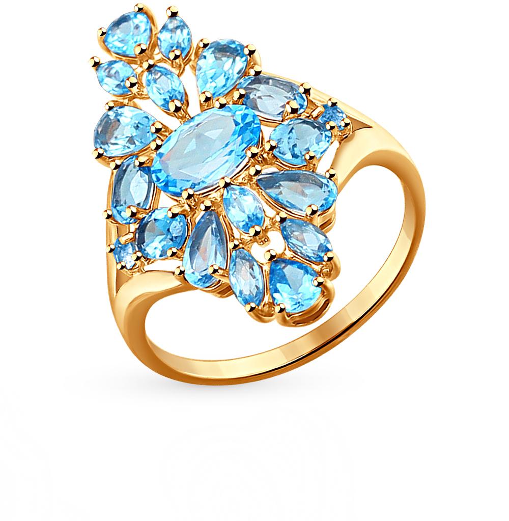 золотое кольцо с топазами и фианитами SOKOLOV 714263*