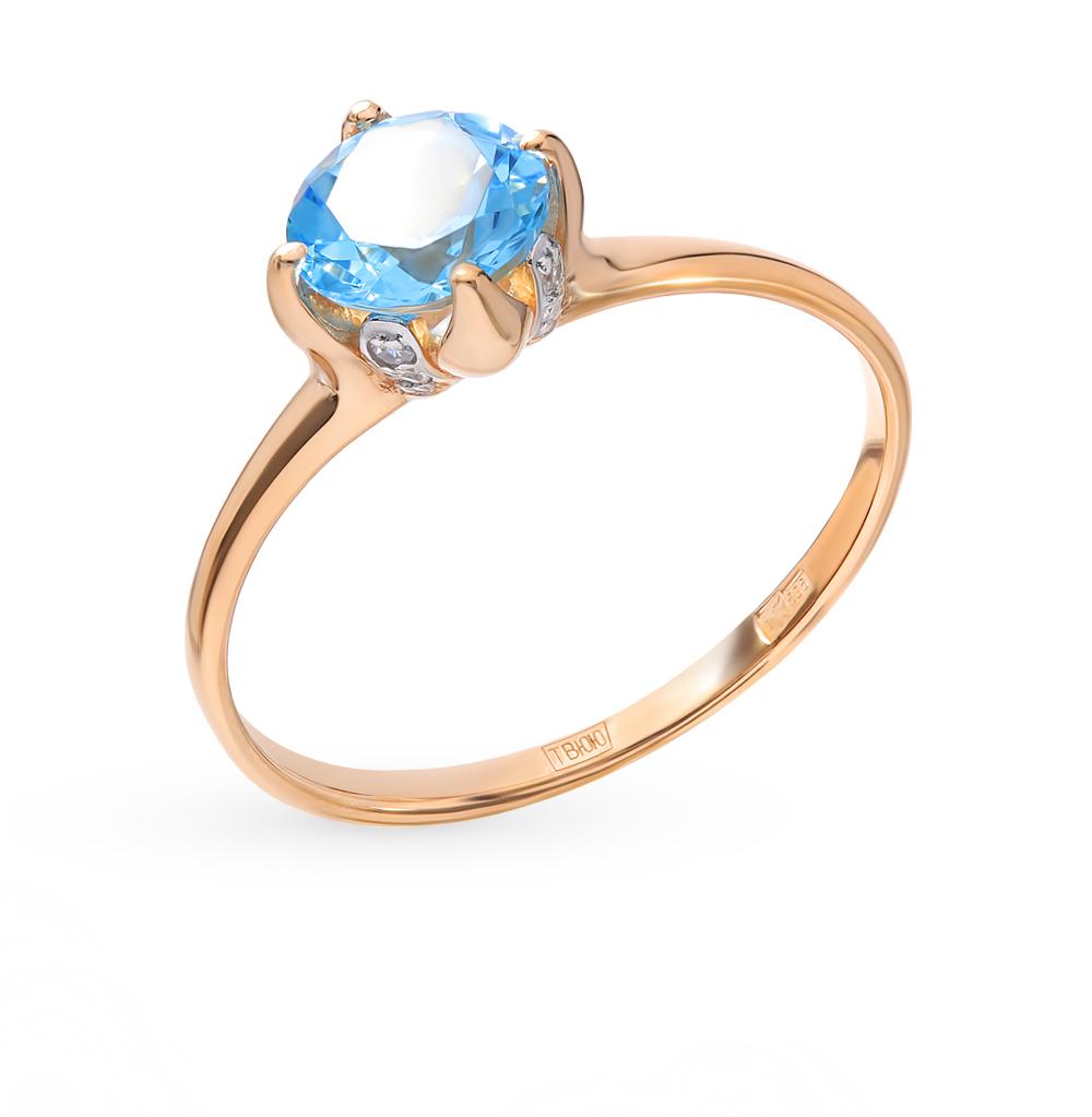 Фото «Золотое кольцо с топазами и фианитами SOKOLOV 714929*»