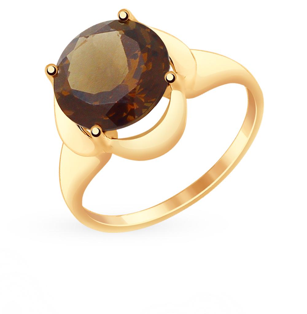 золотое кольцо с раухтопазами SOKOLOV 714906