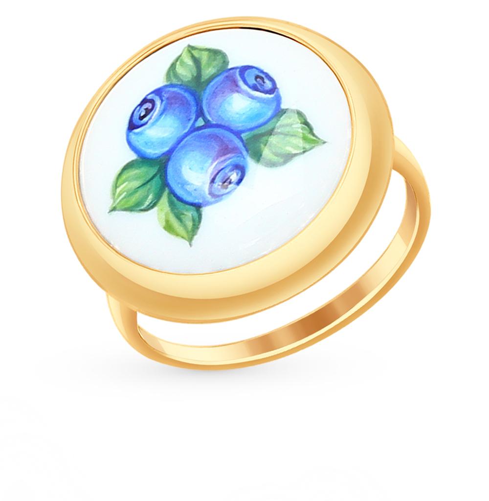 золотое кольцо с финифтью SOKOLOV 781009