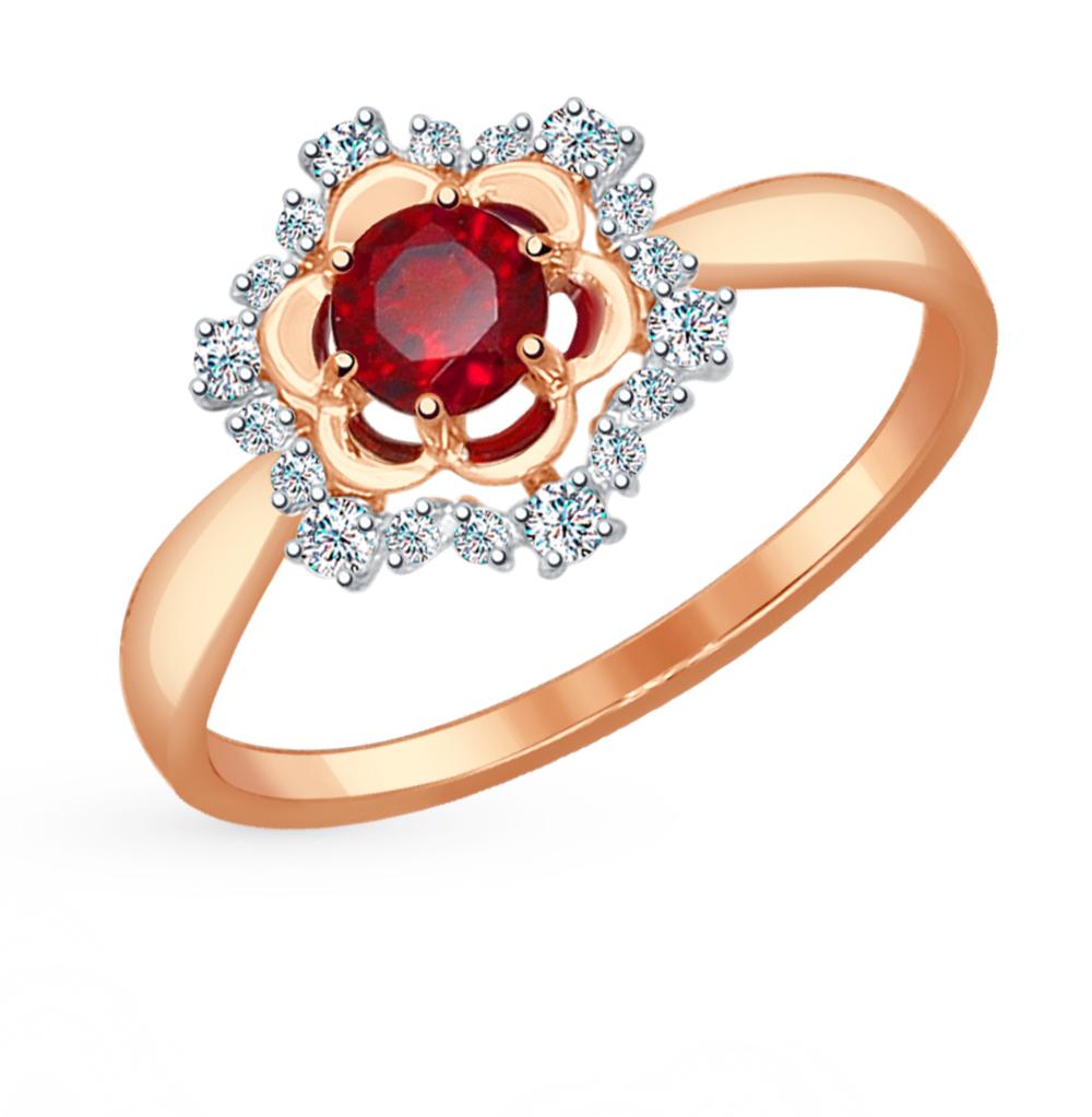 золотое кольцо с фианитами и гранатом SOKOLOV 714486*