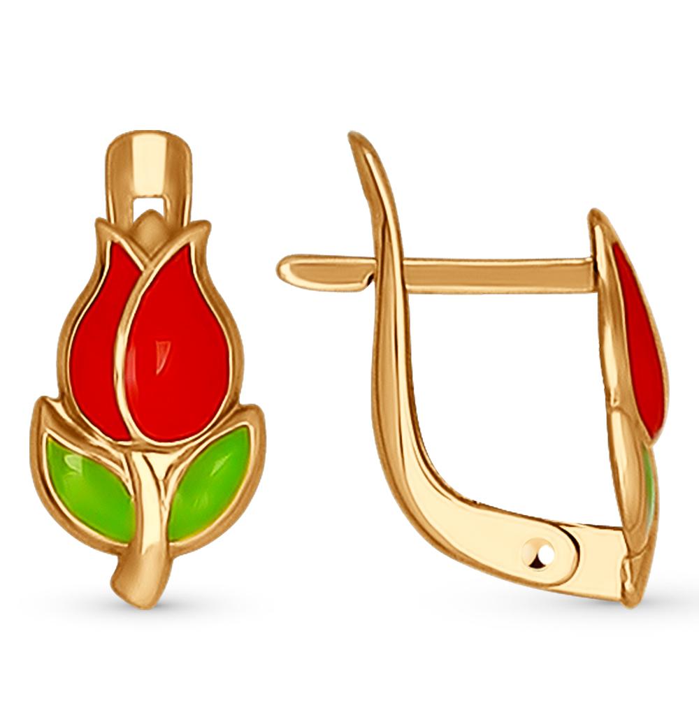 золотые серьги с эмалью SOKOLOV 027409*