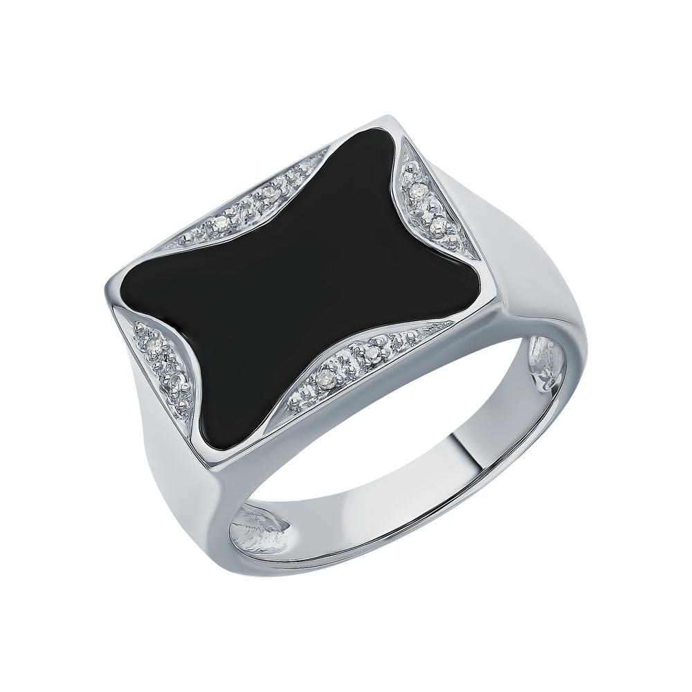 Фото «Золотое кольцо с ониксом и бриллиантами»