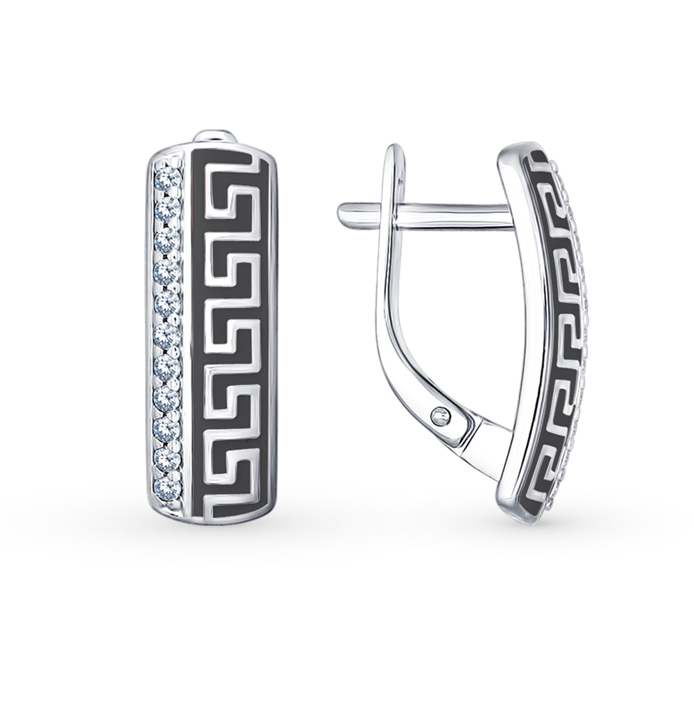Фото «Серебряные серьги с фианитами и эмалью SOKOLOV 94021531»