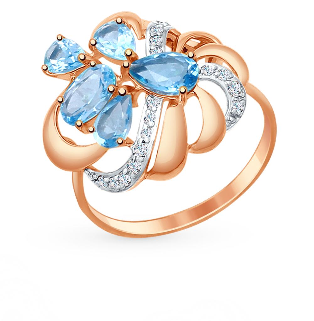 золотое кольцо с топазами и фианитами SOKOLOV 714749*