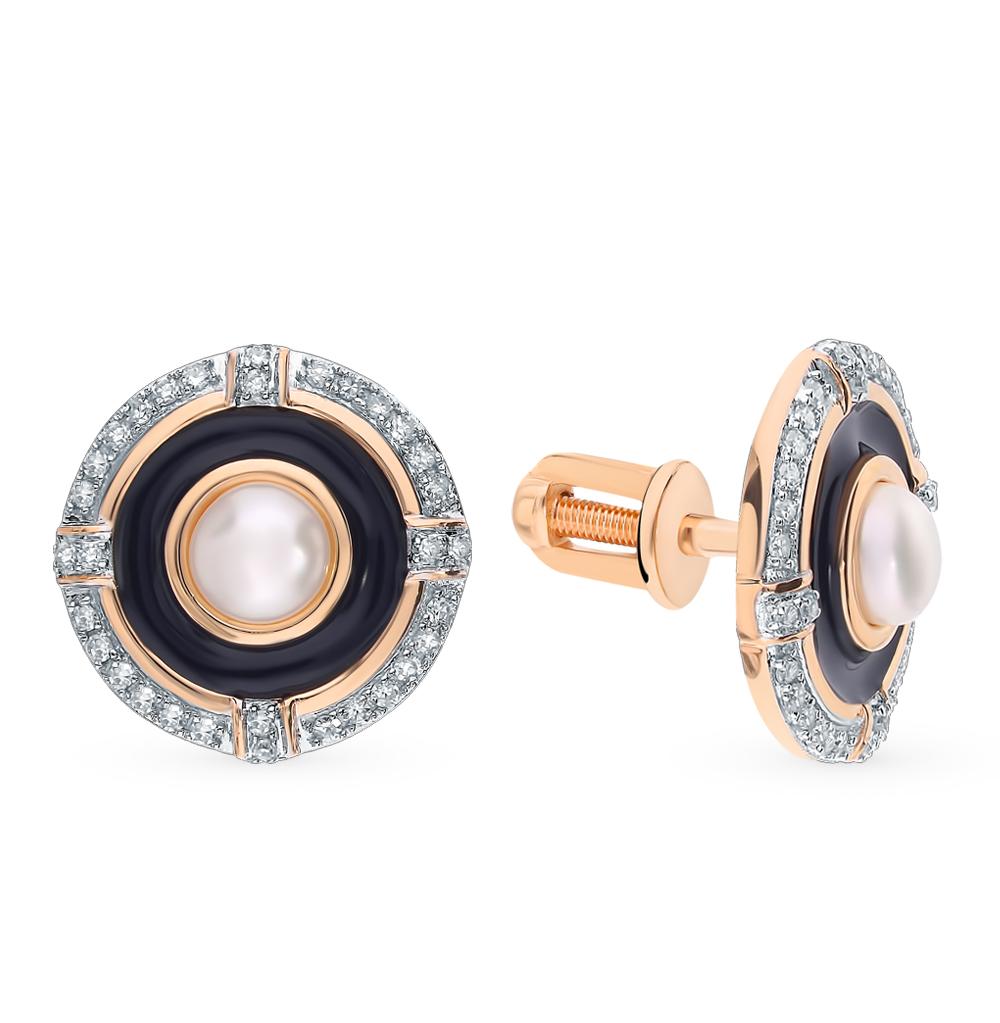 золотые серьги с жемчугом, эмалью и бриллиантами