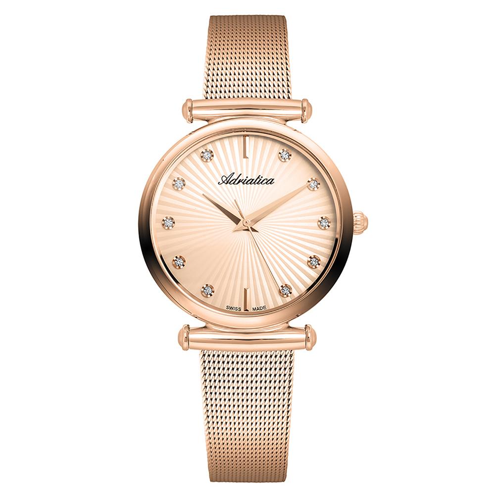 Фото «Женские часы A3518.919RQ на стальном браслете с розовым PVD покрытием с минеральным стеклом»