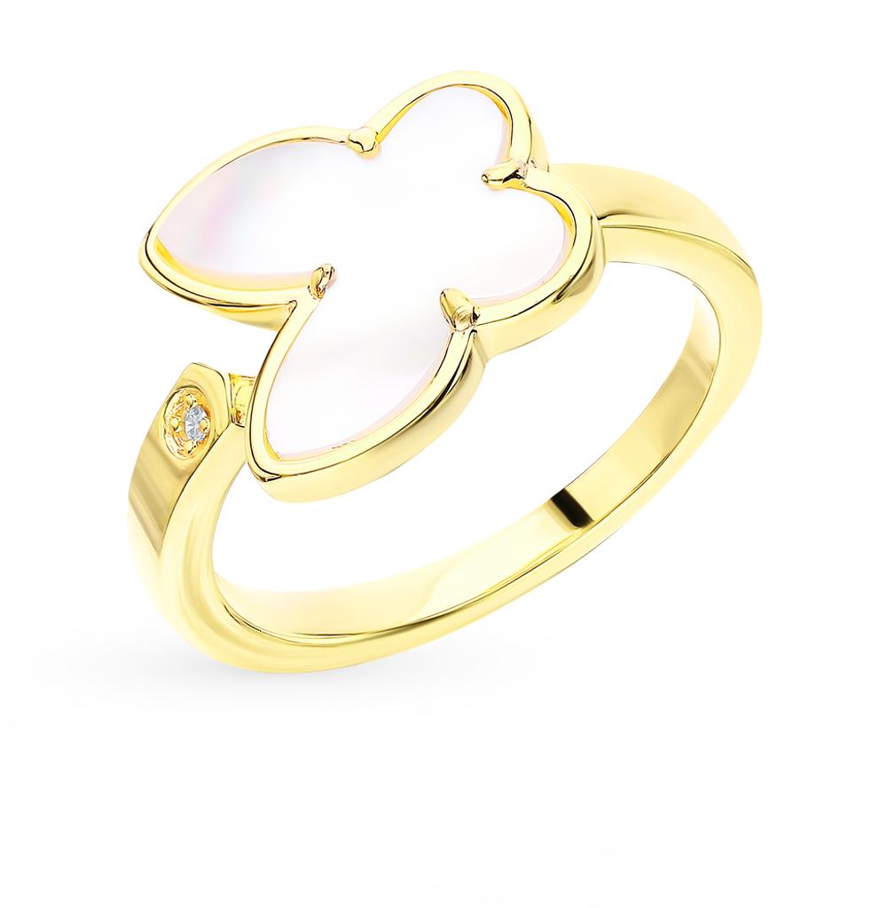 Серебряное кольцо с фианитами и перламутром в Санкт-Петербурге