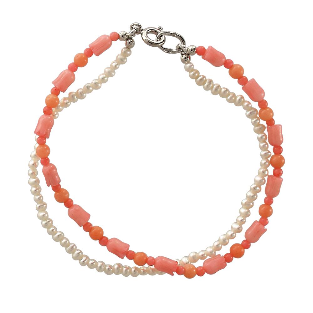 серебряный браслет с кораллом и жемчугами культивированными
