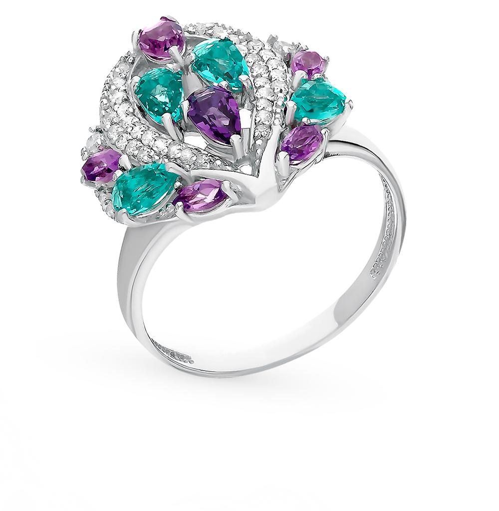 Фото «Серебряное кольцо с аметистом, фианитами и параиба ситал»