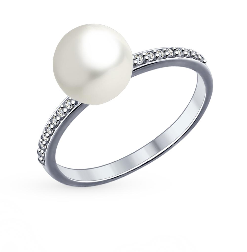 серебряное кольцо с фианитами и жемчугом SOKOLOV 94012034