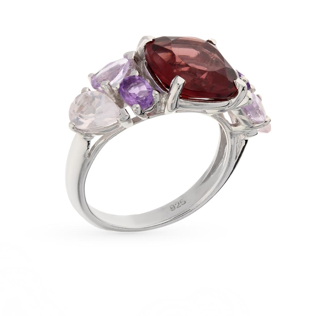 Фото «серебряное кольцо с кварцем, аметистами синтетическими и родолитами синтетическими»