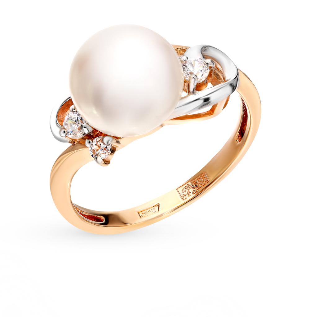 золотое кольцо с фианитами и жемчугом