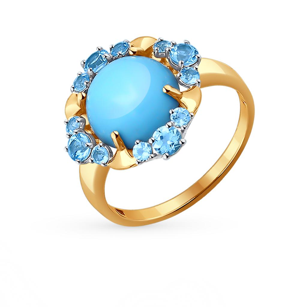 Фото «Золотое кольцо с бирюзой и топазами SOKOLOV 714088*»