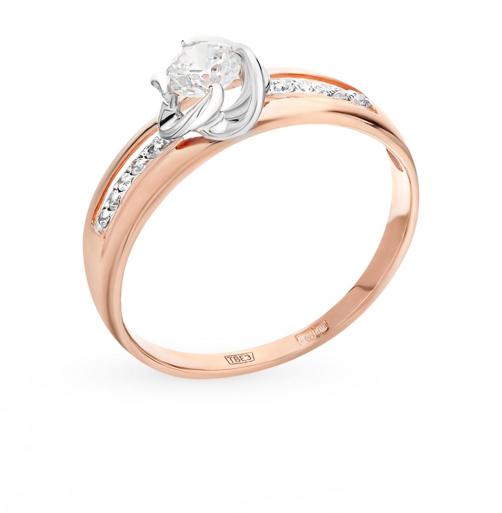 золотое кольцо с фианитами SOKOLOV 017433*