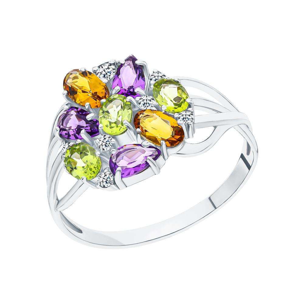 Серебряное кольцо с хризолитом, аметистом, цитринами и кубическими циркониями в Екатеринбурге