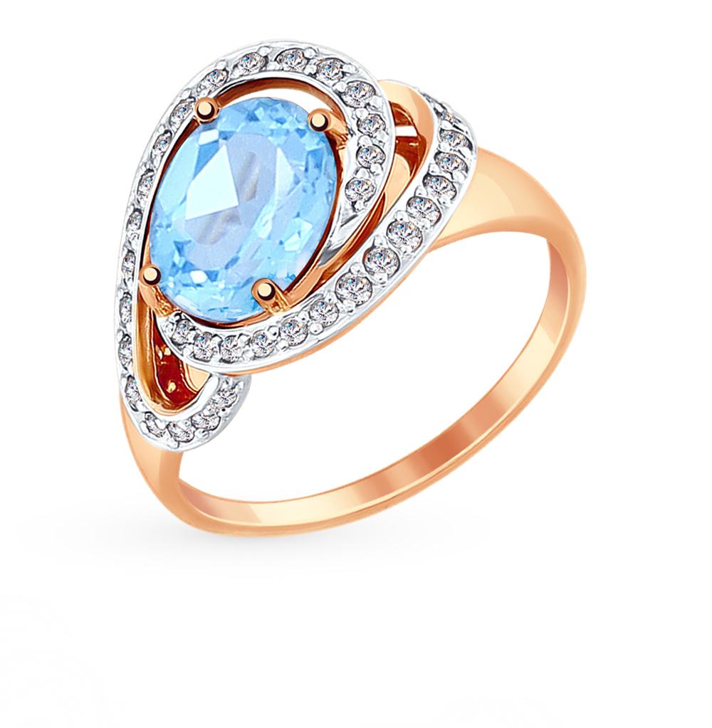 золотое кольцо с топазами и фианитами SOKOLOV 714891*