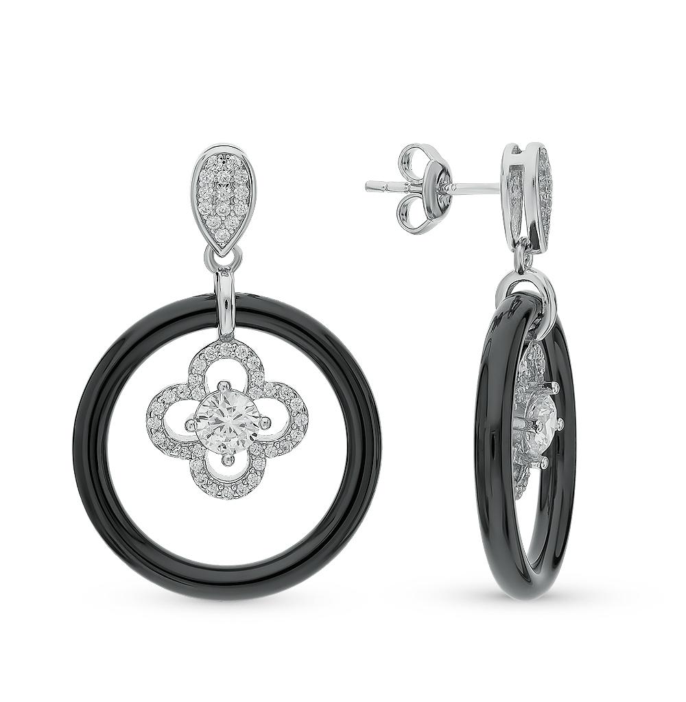 Серебряные серьги с керамикой и фианитами в Санкт-Петербурге