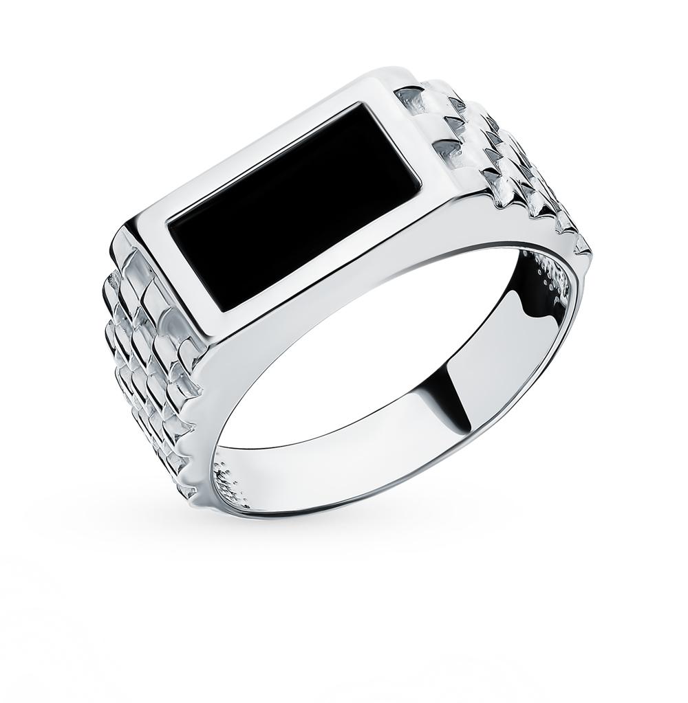 Серебряное кольцо с ониксами имитациями в Екатеринбурге