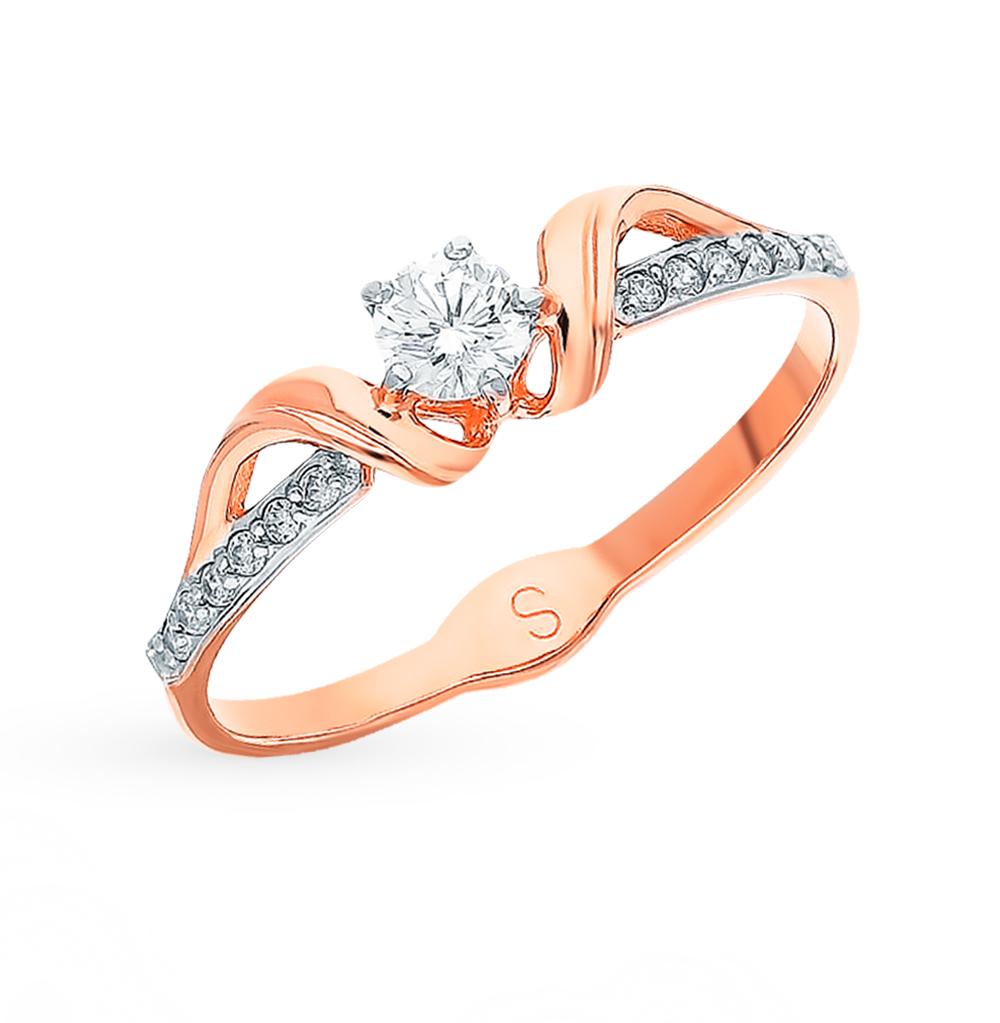 золотое кольцо с фианитами SOKOLOV 018081*