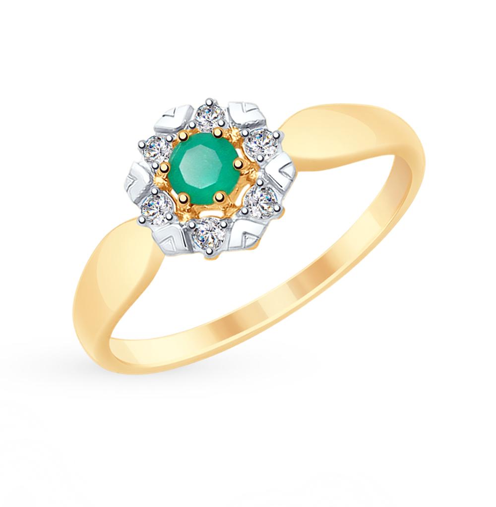 Фото «Золотое кольцо с фианитами и агатом SOKOLOV 715309*»
