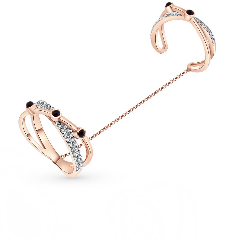 золотое кольцо с ониксом и бриллиантами