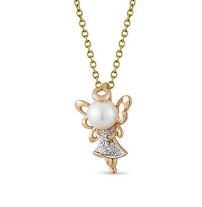 Фото «золотая подвеска с фианитами, жемчугом и бриллиантами»