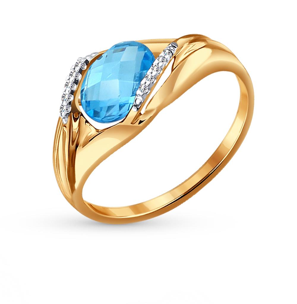 золотое кольцо с топазами и фианитами SOKOLOV 714061*