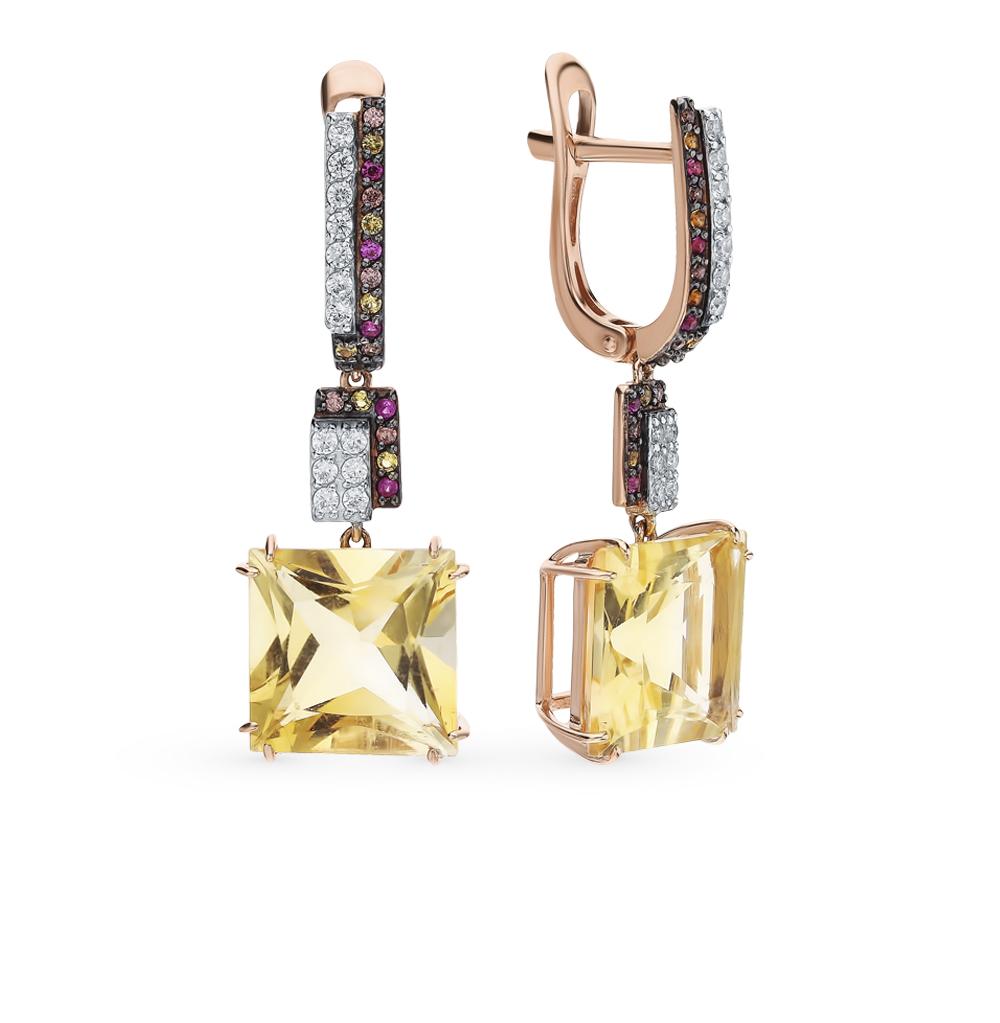Фото «Золотые серьги с рубинами, фианитами и цитринами»