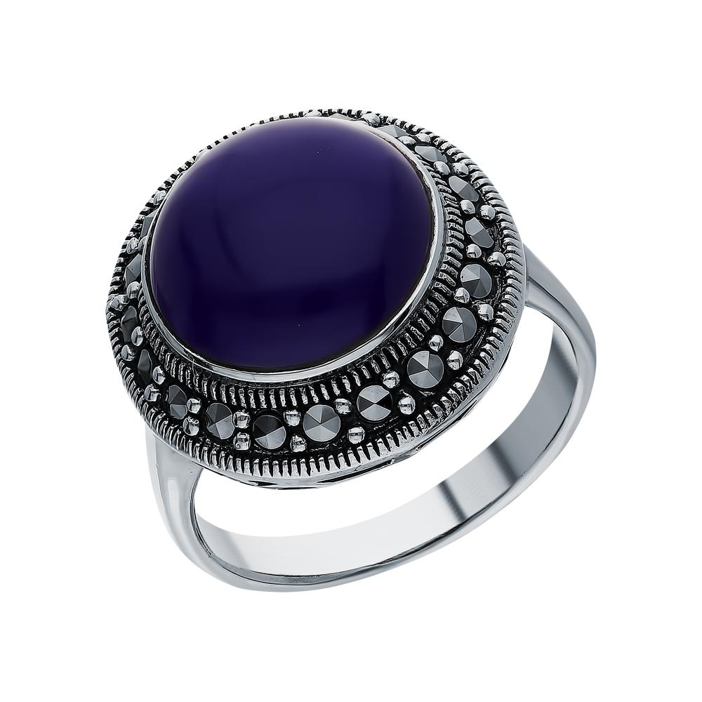 Фото «Серебряное кольцо с лазуритом и марказитами swarovski»