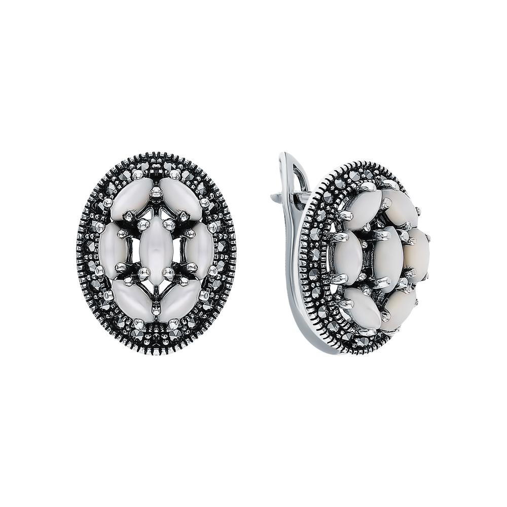 Фото «Серебряные серьги с перламутром и марказитами swarovski»