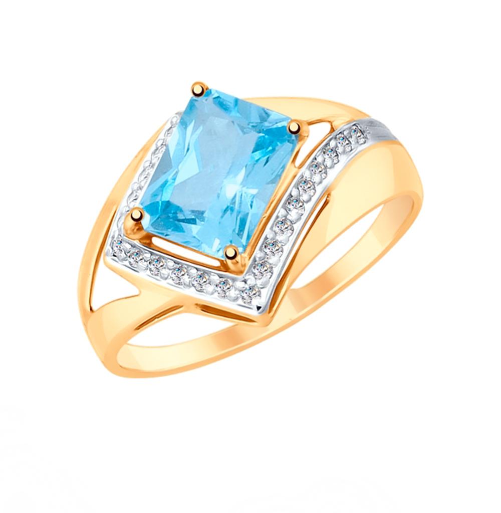 Золотое кольцо с топазами и фианитами SOKOLOV 715282 в Санкт-Петербурге