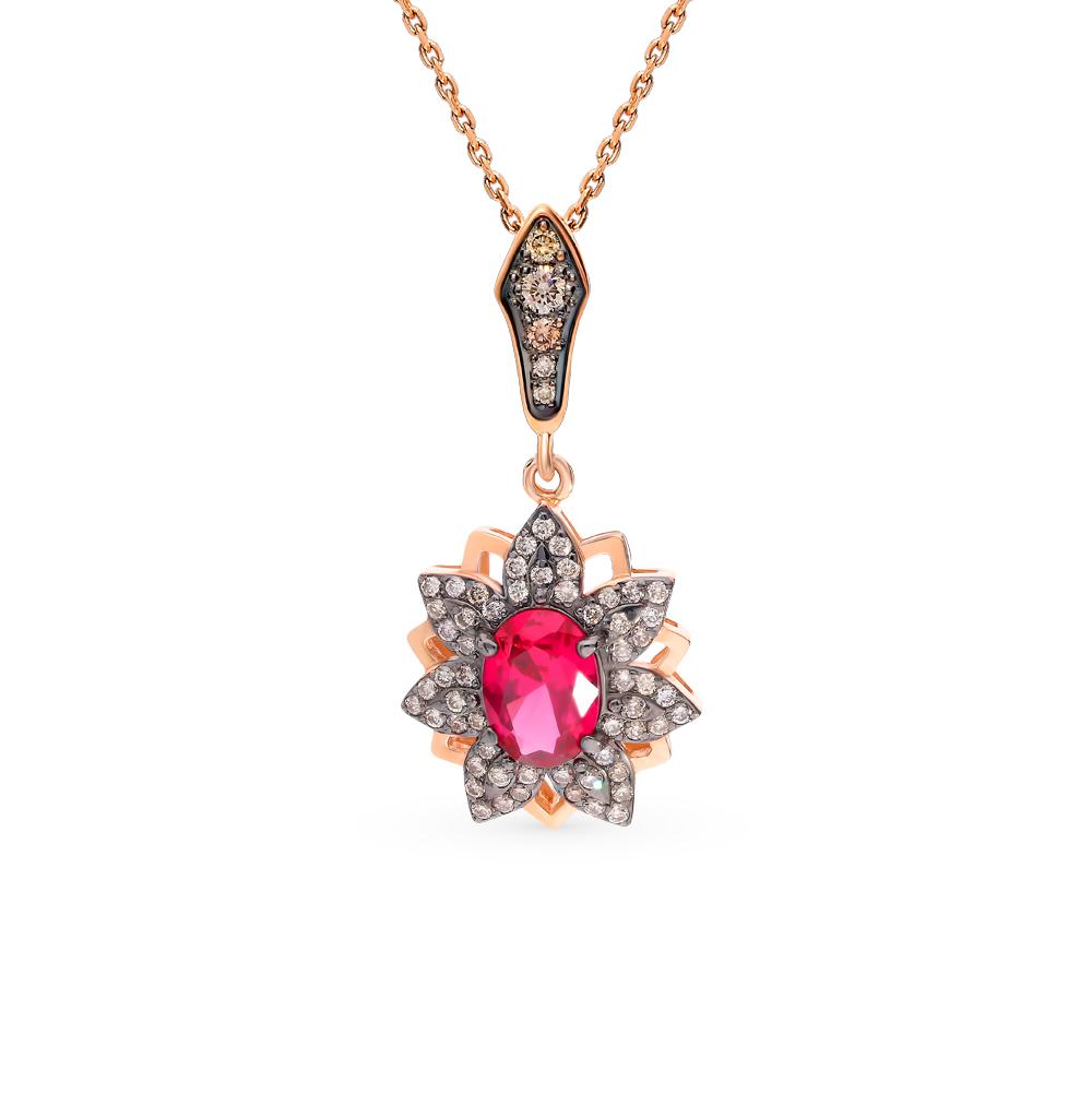 Фото «Золотая подвеска с коньячными бриллиантами и рубином»