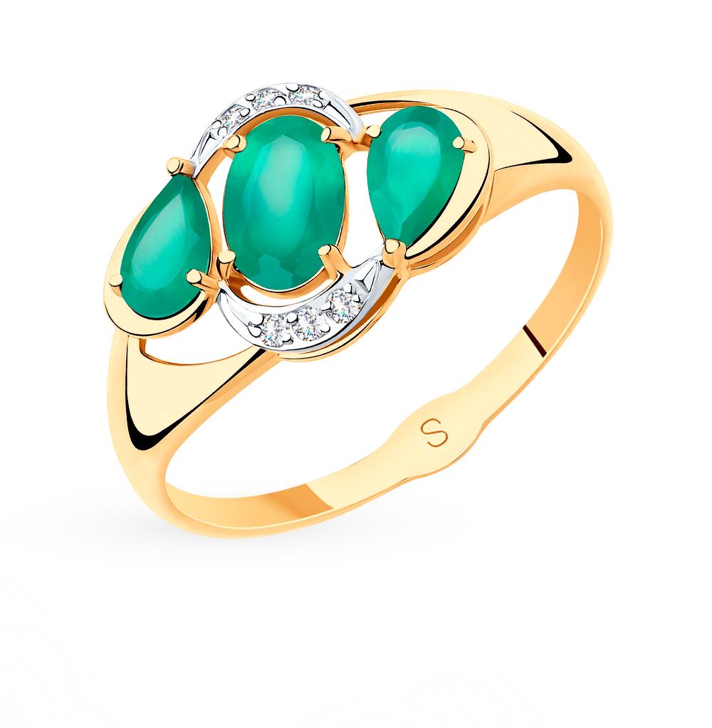 Фото «Золотое кольцо с фианитами и агатом SOKOLOV 715514*»