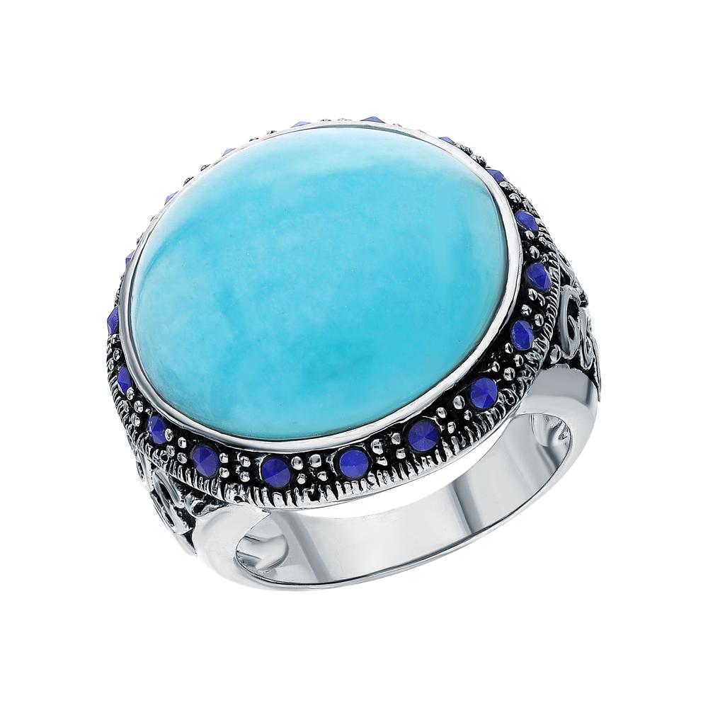 Фото «Серебряное кольцо с амазонитом и лазуритом»